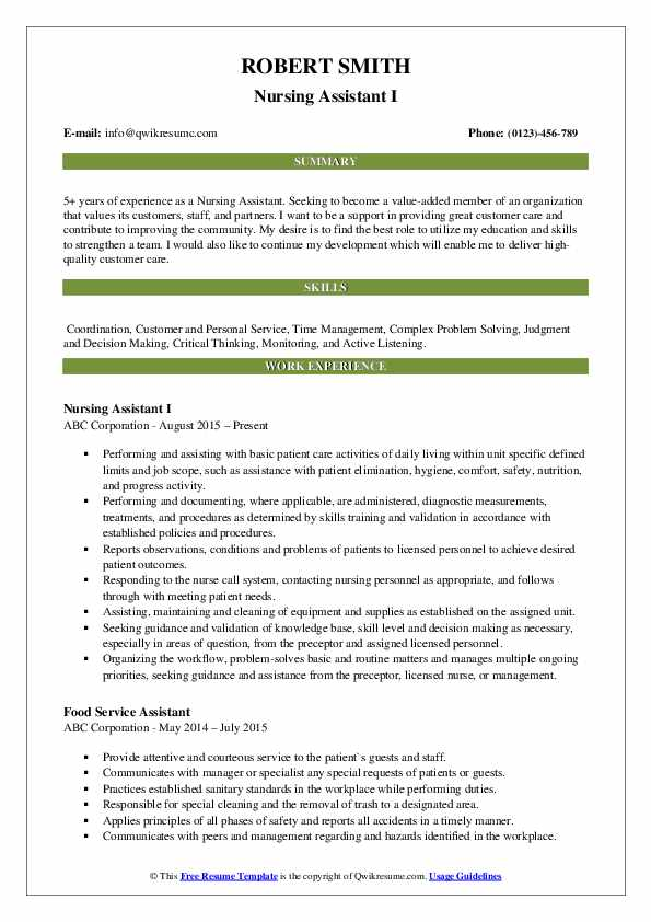 Nursing Assistant Resume Samples Qwikresume