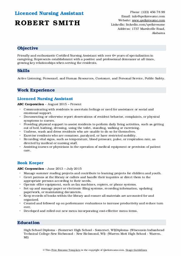 Licenced Nursing Assistant Resume Example