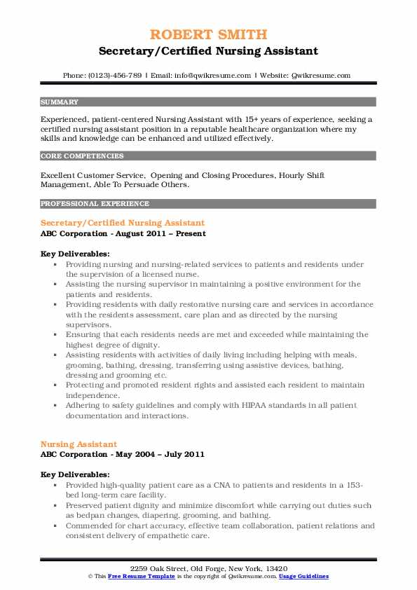 Secretary/Certified Nursing Assistant Resume Model