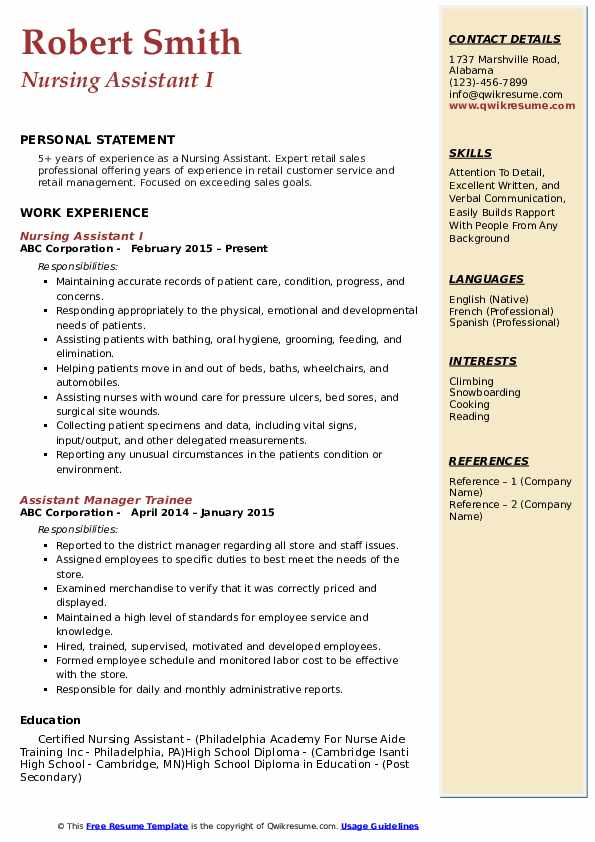 Nursing Assistant I Resume Template