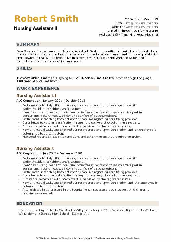 nursing assistant resume samples