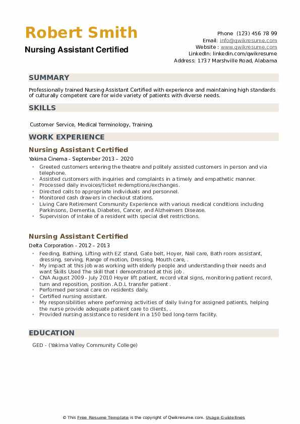 nursing assistant certified resume samples