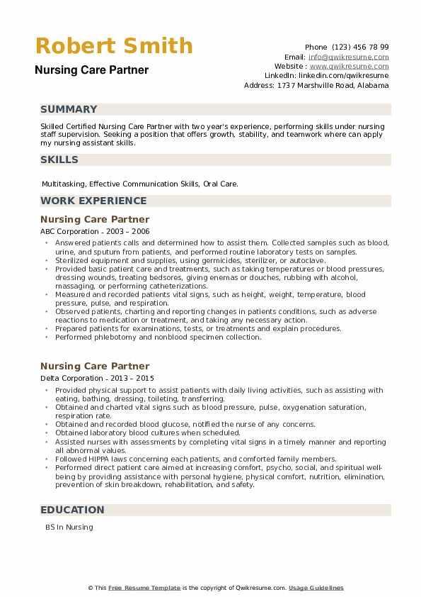 Nursing Care Partner Resume example