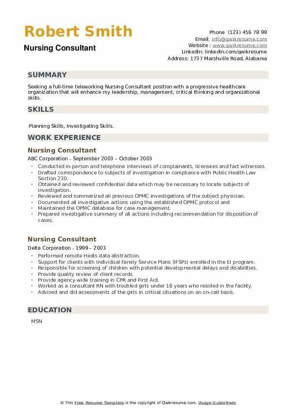 Nursing Consultant Resume example