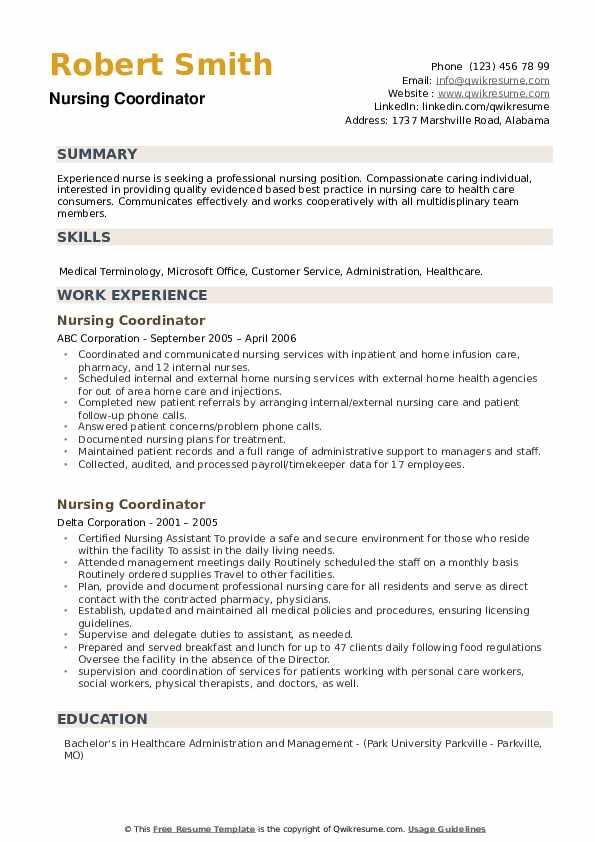 Nursing Coordinator Resume example