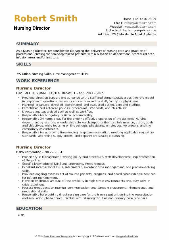 Nursing Director Resume example