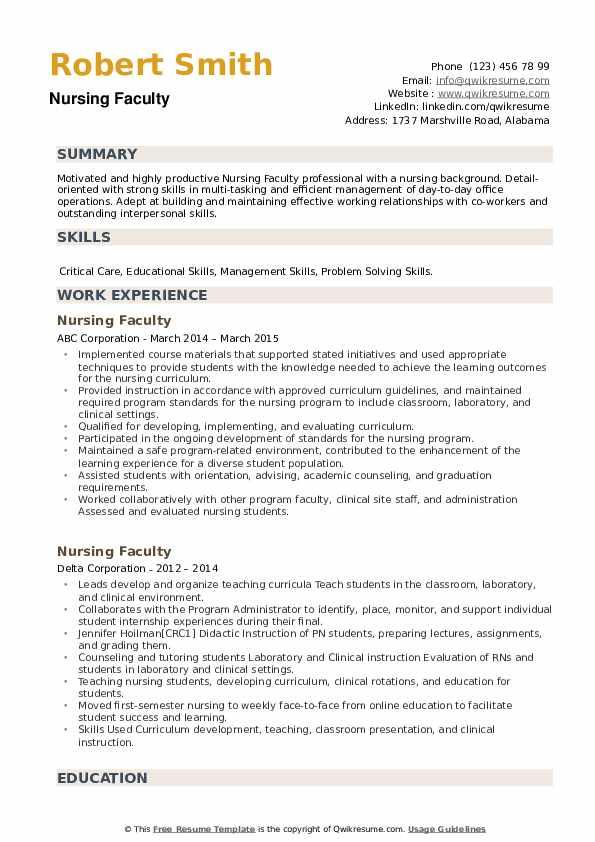 Nursing Faculty Resume example