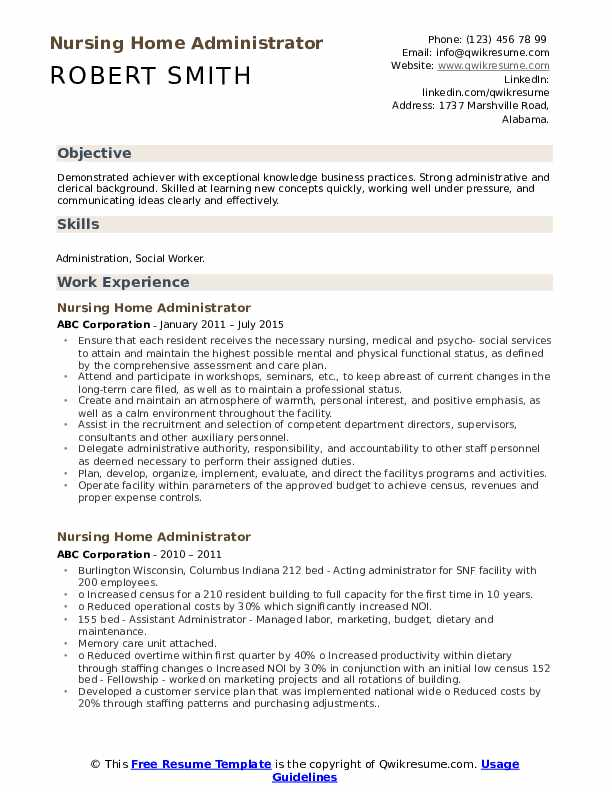 Nursing Home Administrator Resume Model