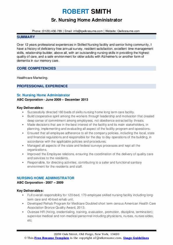 Sr. Nursing Home Administrator Resume Sample