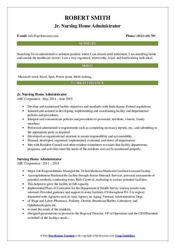 Jr. Nursing Home Administrator Resume Example