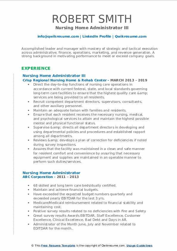 Nursing Home Administrator III Resume Example