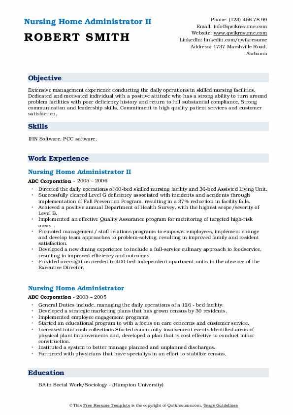 Nursing Home Administrator II Resume Sample