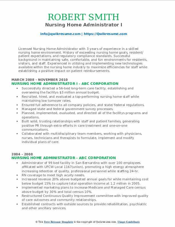 Nursing Home Administrator I Resume Format