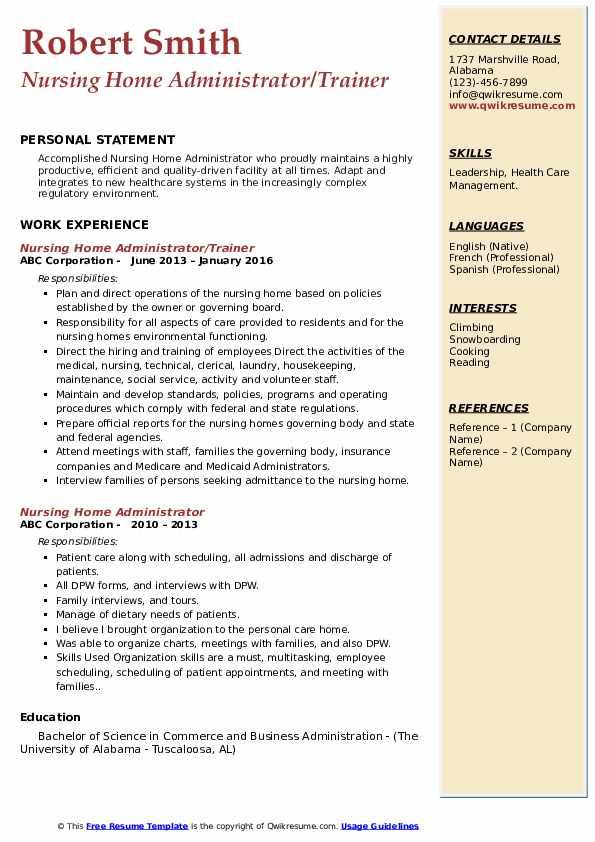 Nursing Home Administrator/Trainer Resume Model