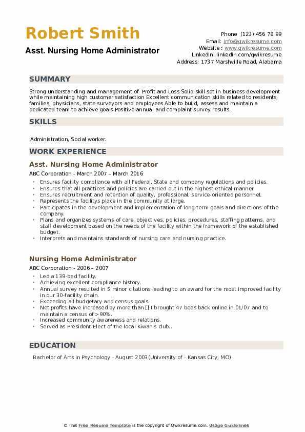 Asst. Nursing Home Administrator Resume Model
