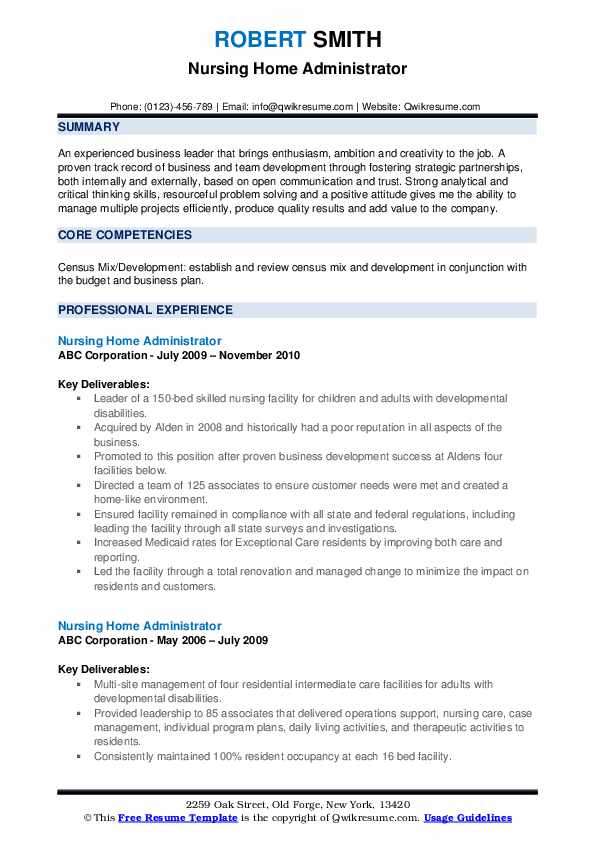 nursing home administrator resume samples