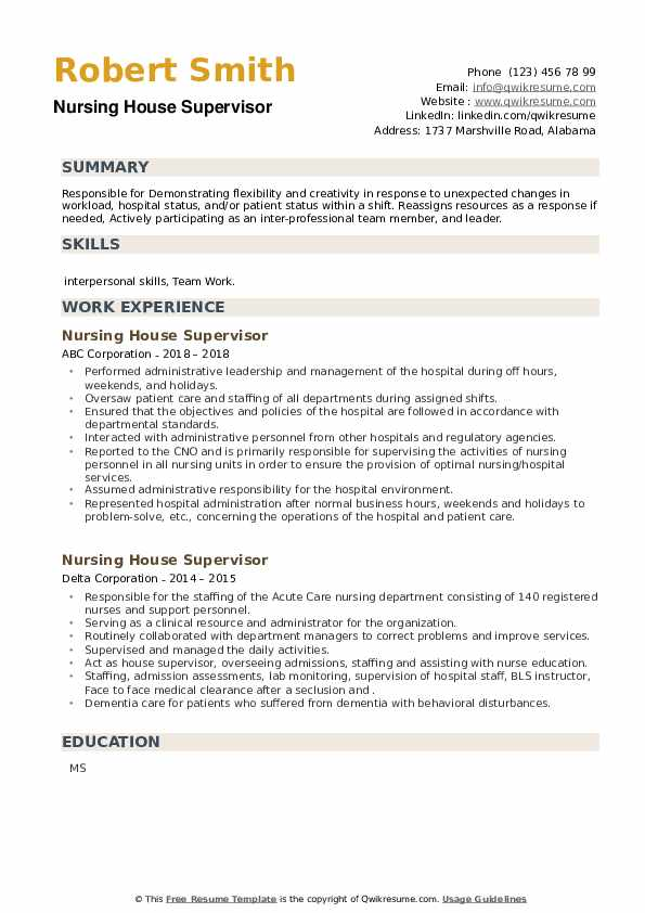 Nursing House Supervisor Resume example