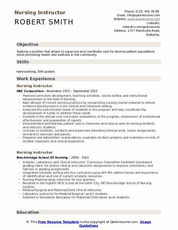 Nursing Instructor Resume Template