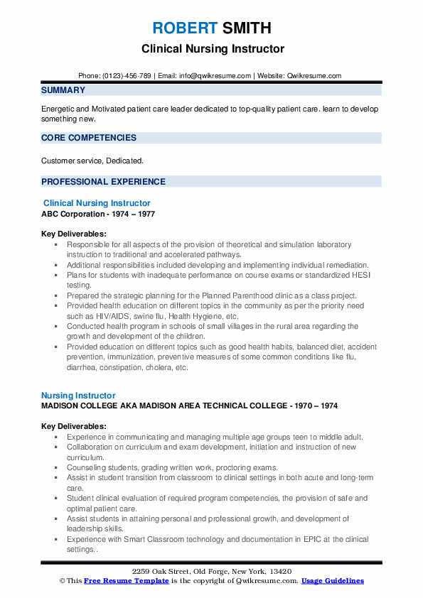 Clinical Nursing Instructor Resume Template