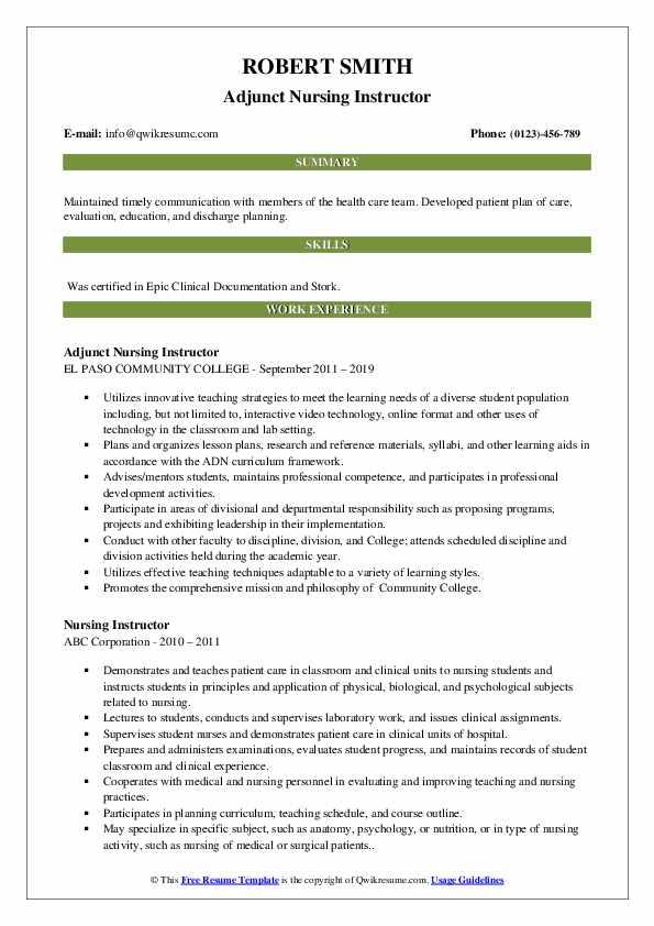 Adjunct Nursing Instructor Resume Format