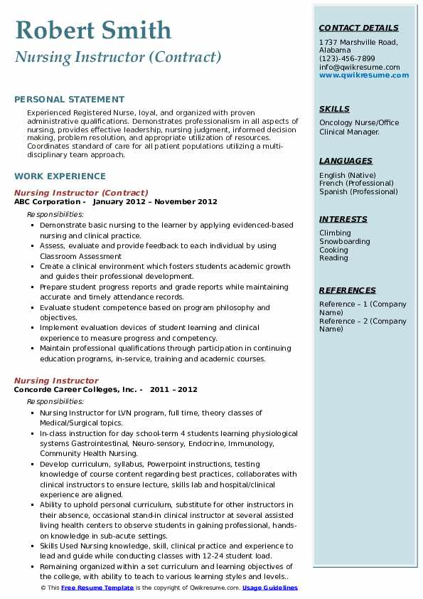 Nursing Instructor (Contract) Resume Sample