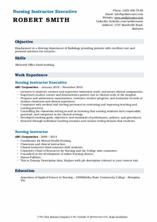 Nursing Instructor Executive Resume Example