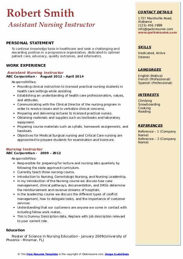 Assistant Nursing Instructor Resume Sample