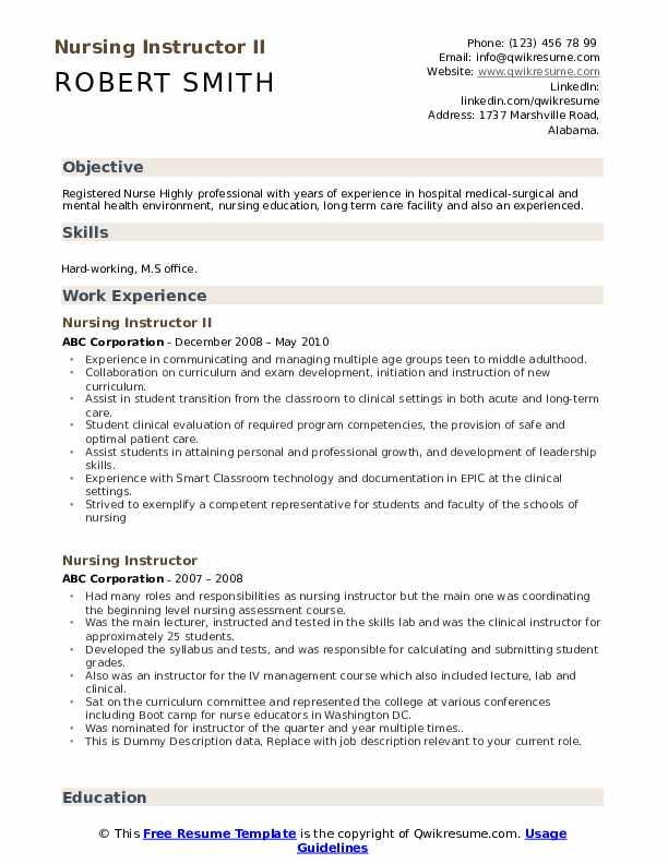 Nursing Instructor II Resume Template