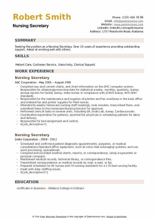 Nursing Secretary Resume example