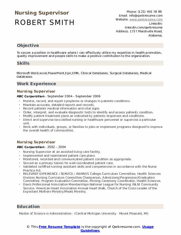 Nursing Supervisor Resume Samples Qwikresume