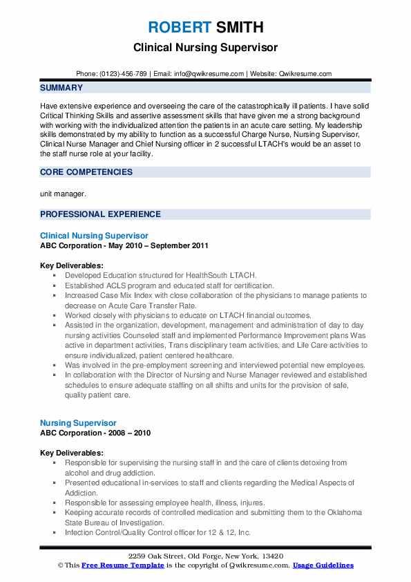 Clinical Nursing Supervisor Resume Sample