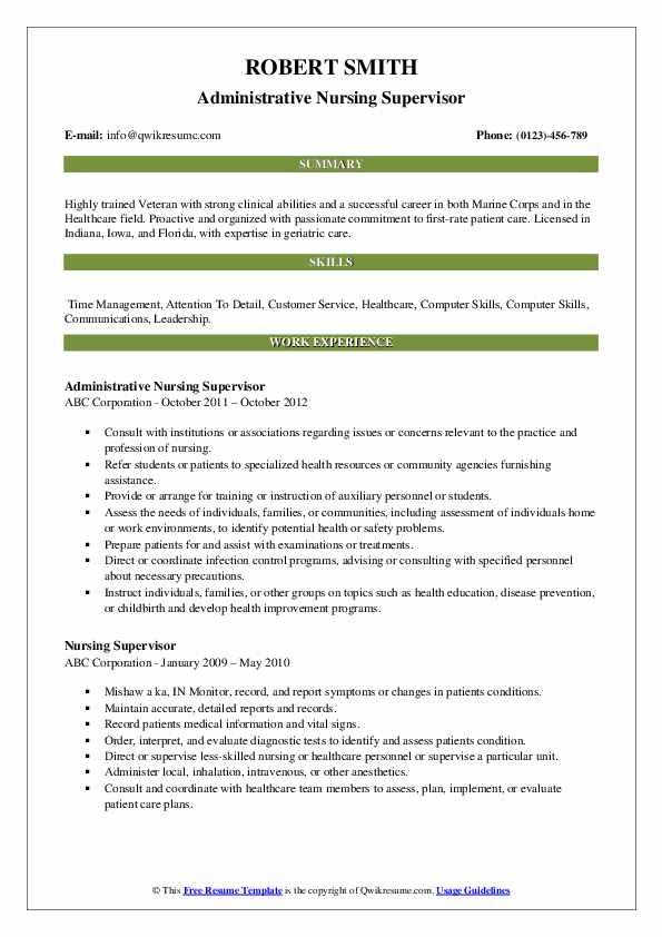 Administrative Nursing Supervisor Resume Model