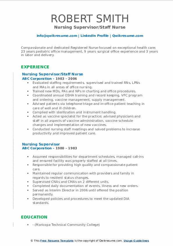 Nursing Supervisor/Staff Nurse Resume Sample