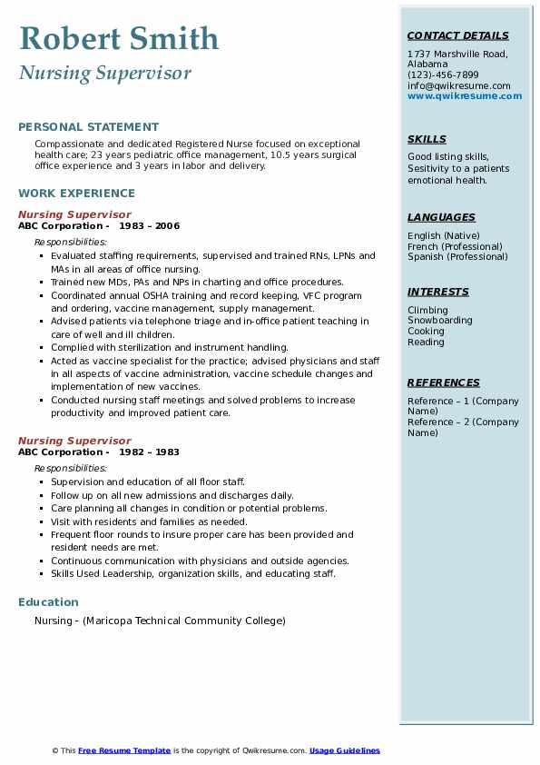Nursing Supervisor Resume Sample