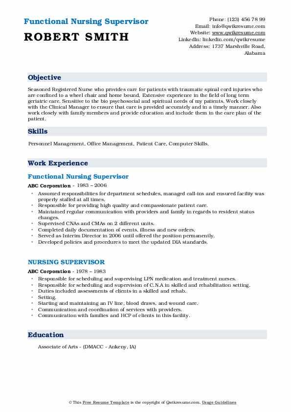 Functional Nursing Supervisor Resume Sample