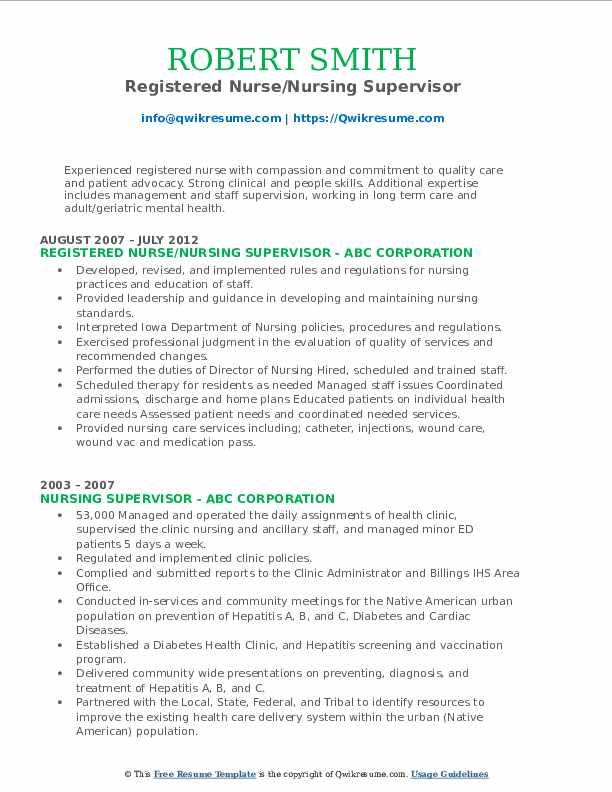 Registered Nurse/Nursing Supervisor Resume Template