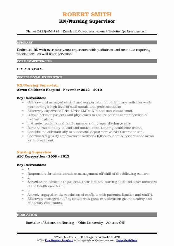 RN/Nursing Supervisor Resume Example