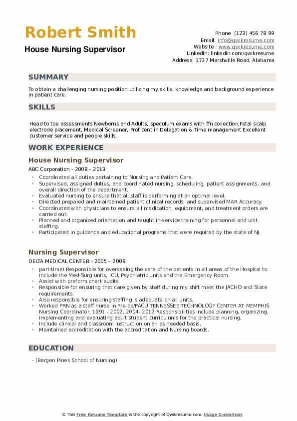 House Nursing Supervisor Resume Model