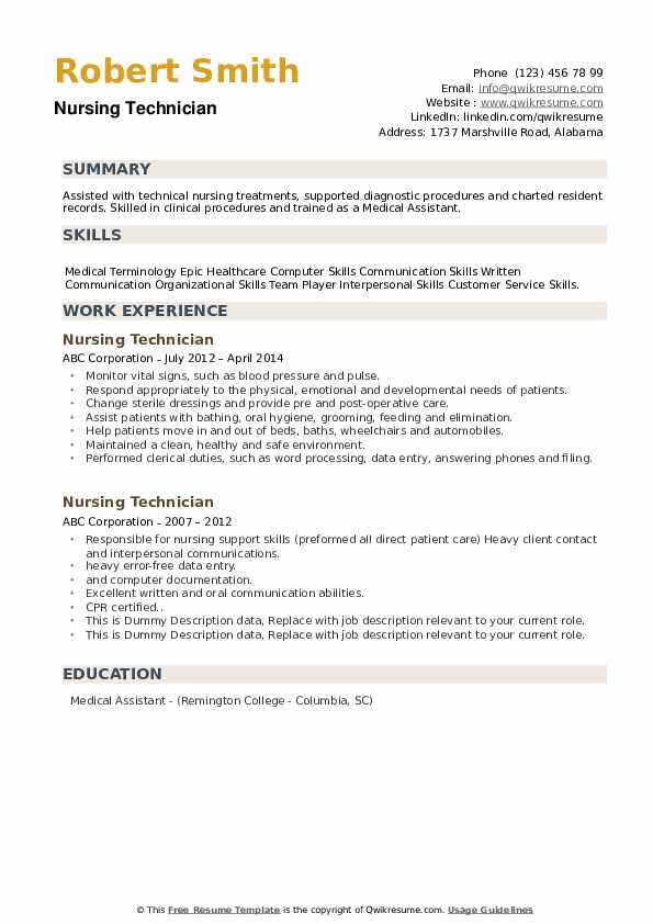 Nursing Technician Resume example