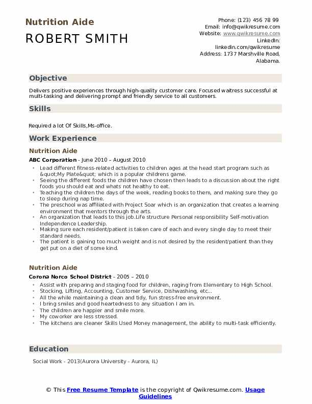 Nutrition Aide Resume Template