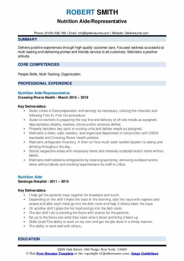 Nutrition Aide/Representative Resume Sample