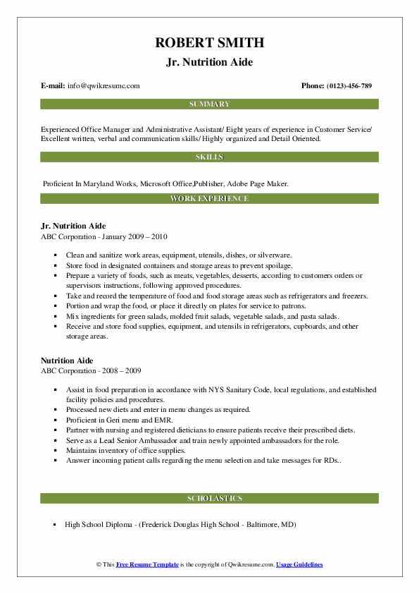 Jr. Nutrition Aide Resume Model