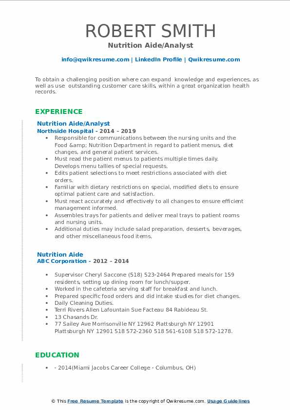 Nutrition Aide/Analyst Resume Model