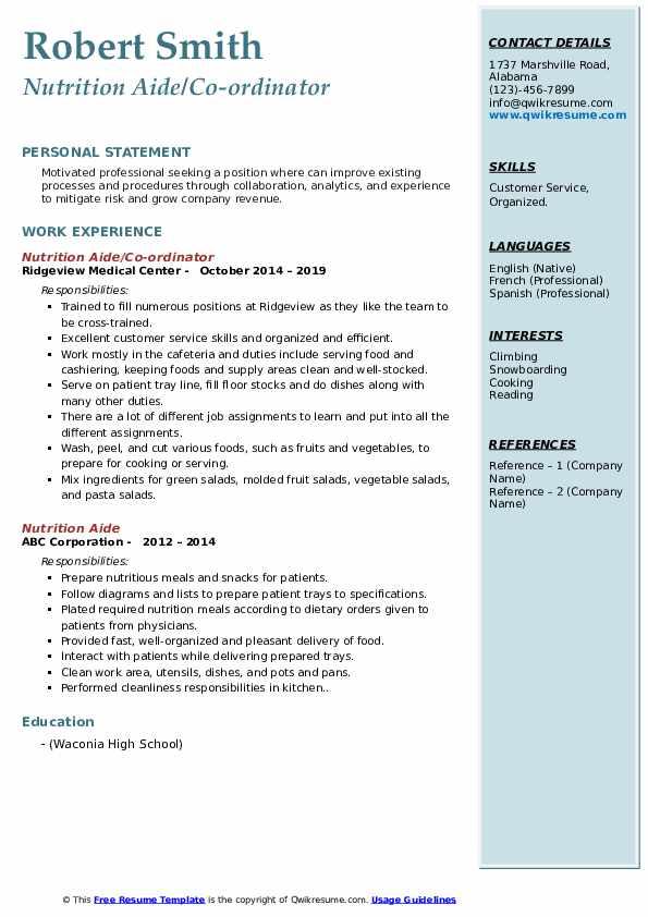Nutrition Aide/Co-ordinator Resume Sample