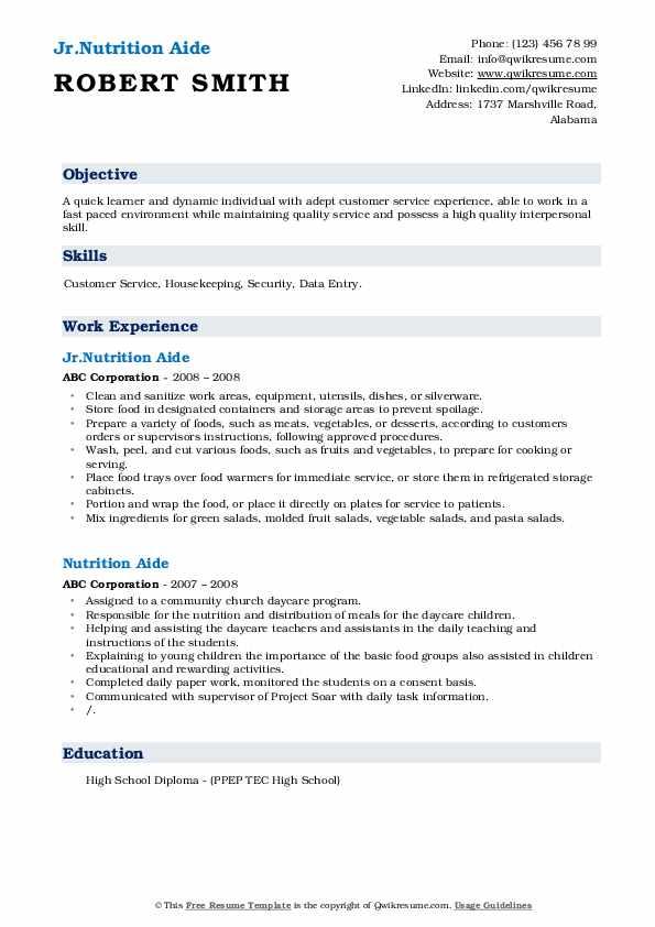 Jr.Nutrition Aide Resume Sample