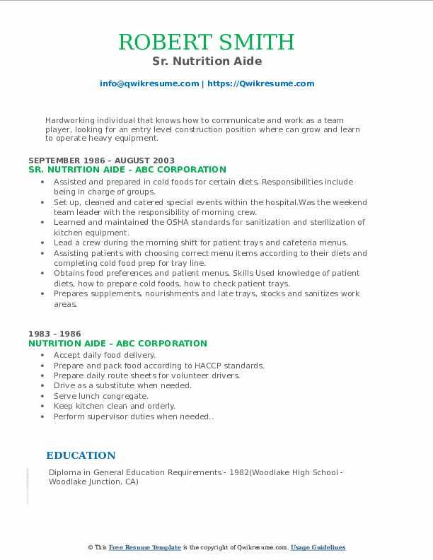 Sr. Nutrition Aide Resume Model