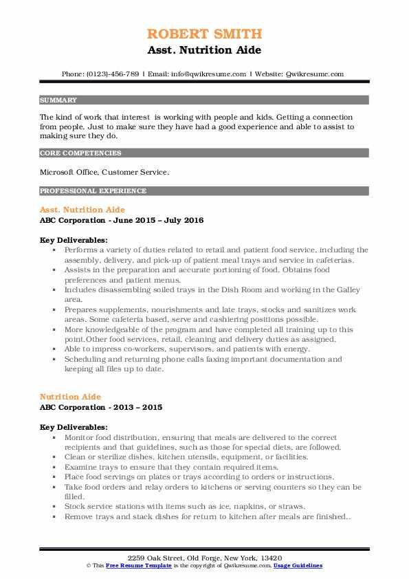 Asst. Nutrition Aide Resume Sample