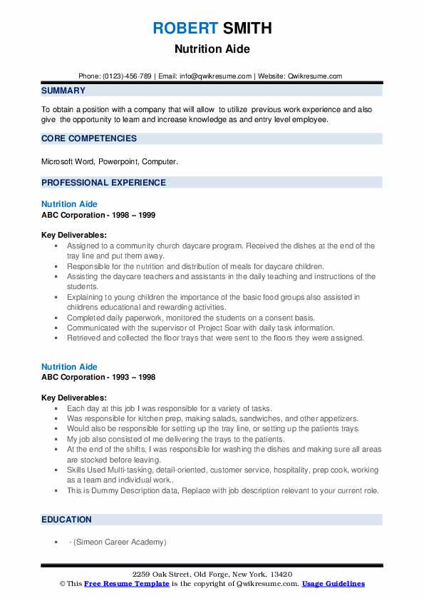 Nutrition Aide Resume example