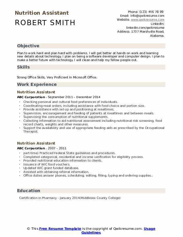 Nutrition Assistant Resume Samples Qwikresume