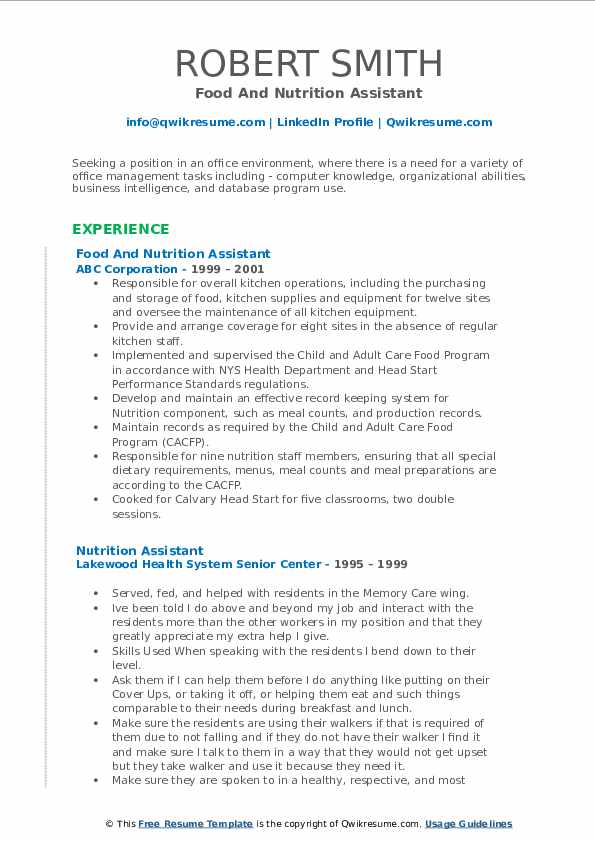 Nutrition Assistant Resume Samples